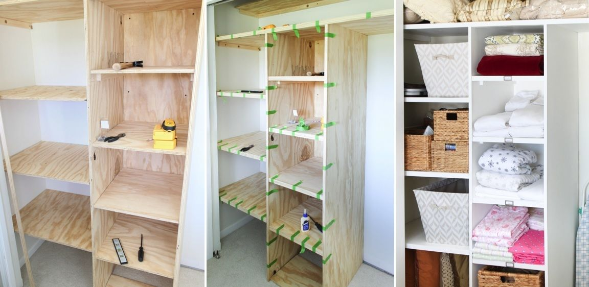 8 shelf supports; 1 extendable clothes rail; Some pointed screws; Adding shelves and drawers to the DOMBÅS wardrobe. First I took the DOMBÅS shelves and assembled the middle one in its place, divided the upper space in three and with the help of the shelf supports placed the other two.