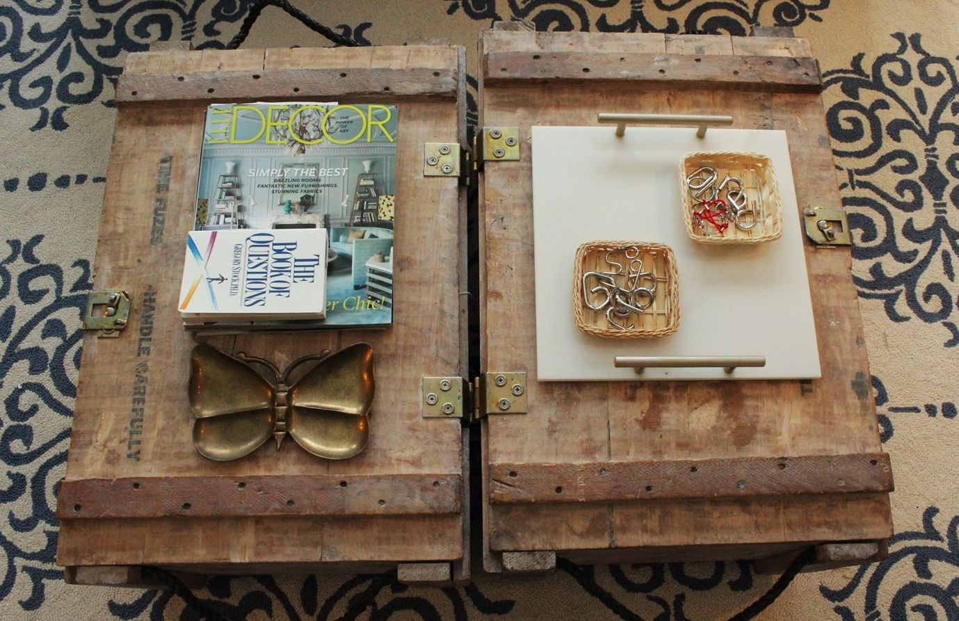 How to style a wooden trunks coffee table