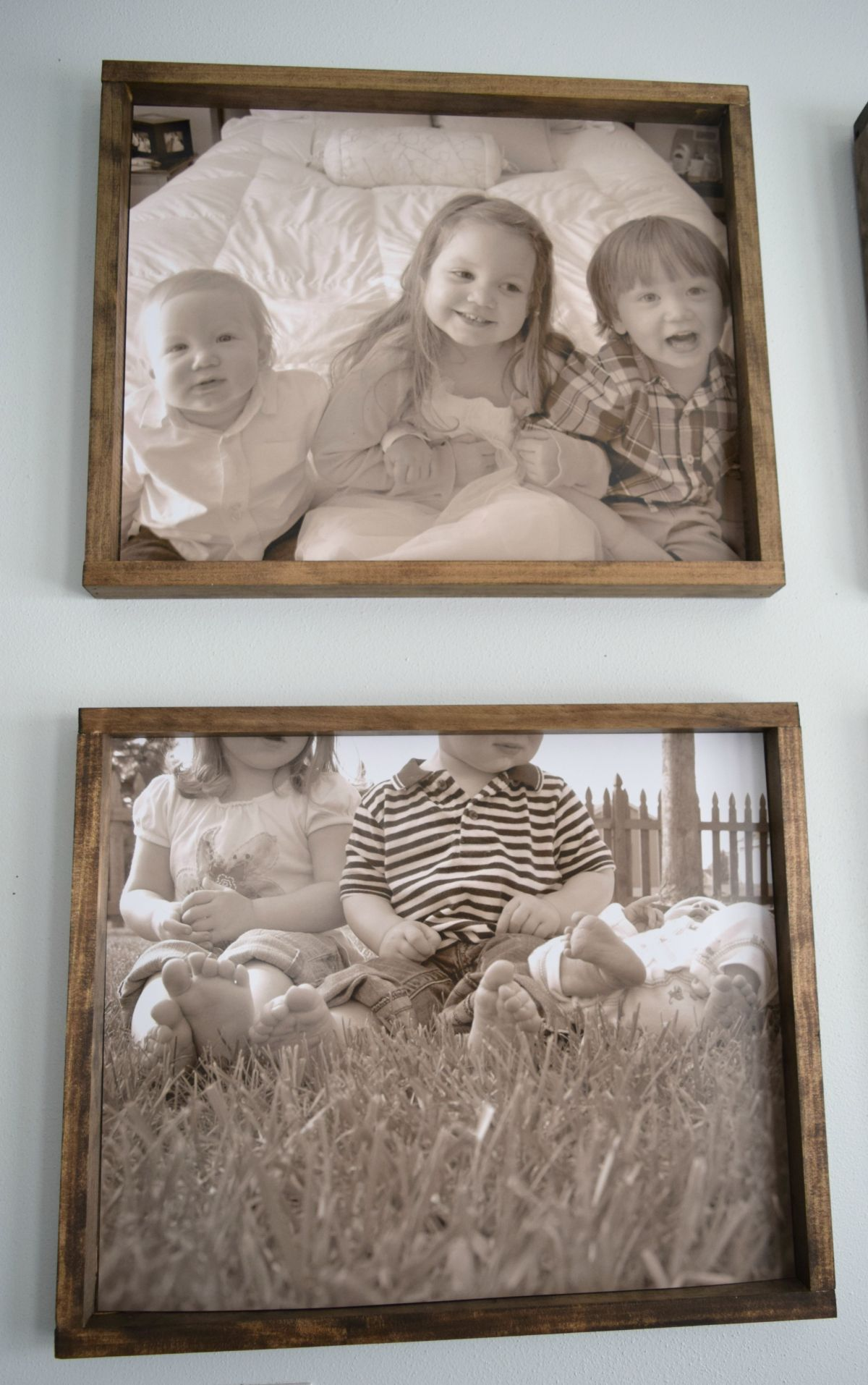 Kids picture frames with a rustic feel