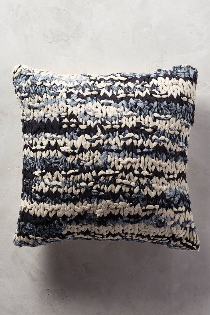 Knitted shibori throw pillow