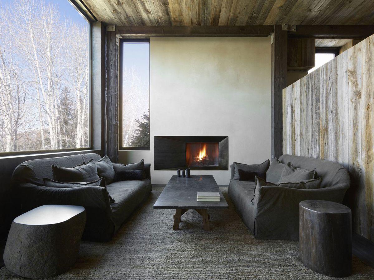 La Muna ski chalet living area gray palette