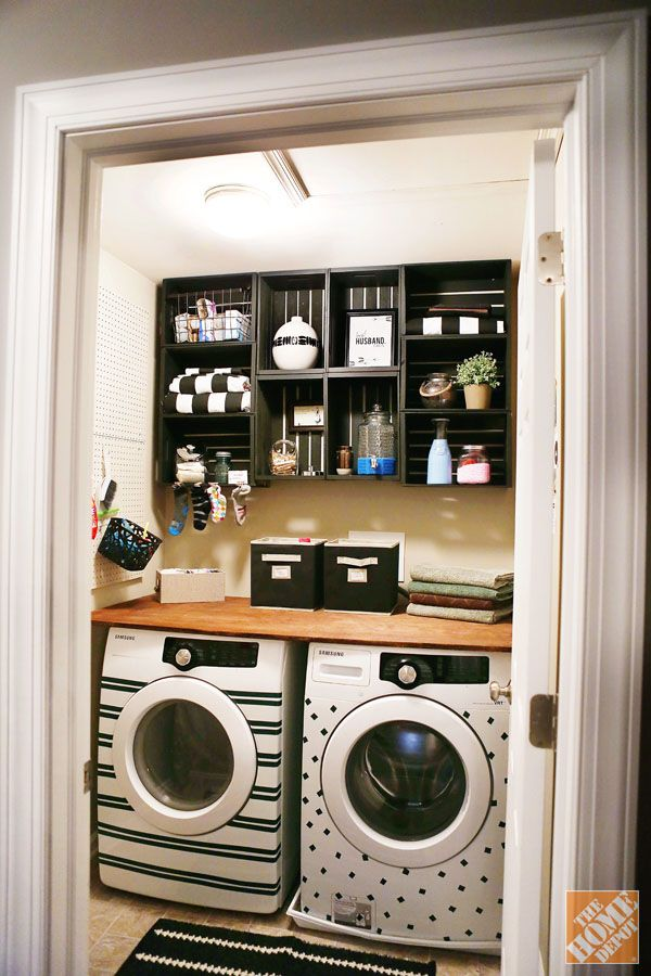 Laundry room organization with wooden crates