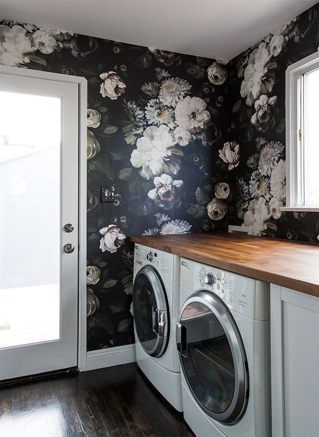 Laundry room rich wallpaper