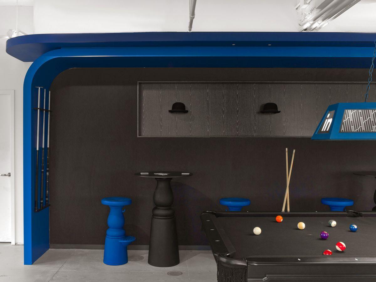 LinkedIn New York Office biliards lounge black and blue