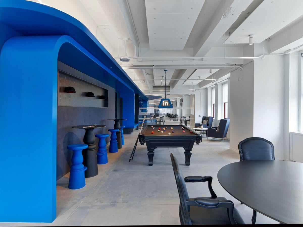LinkedIn New York Office biliards lounge