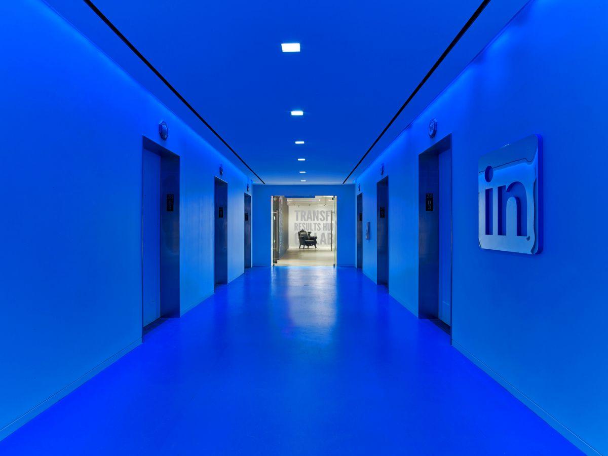LinkedIn New York Office bright blue lobby