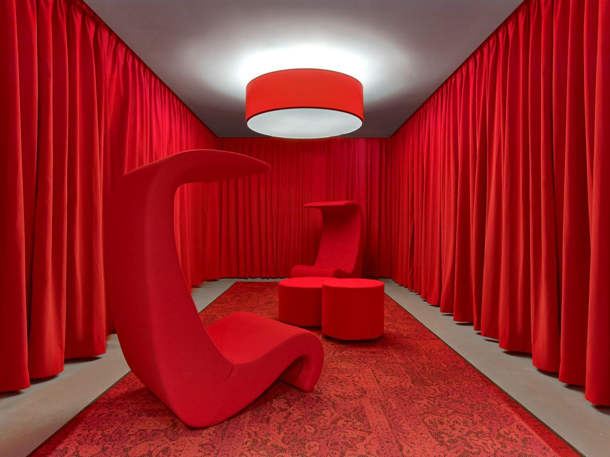 LinkedIn New York Office bright red meeting area