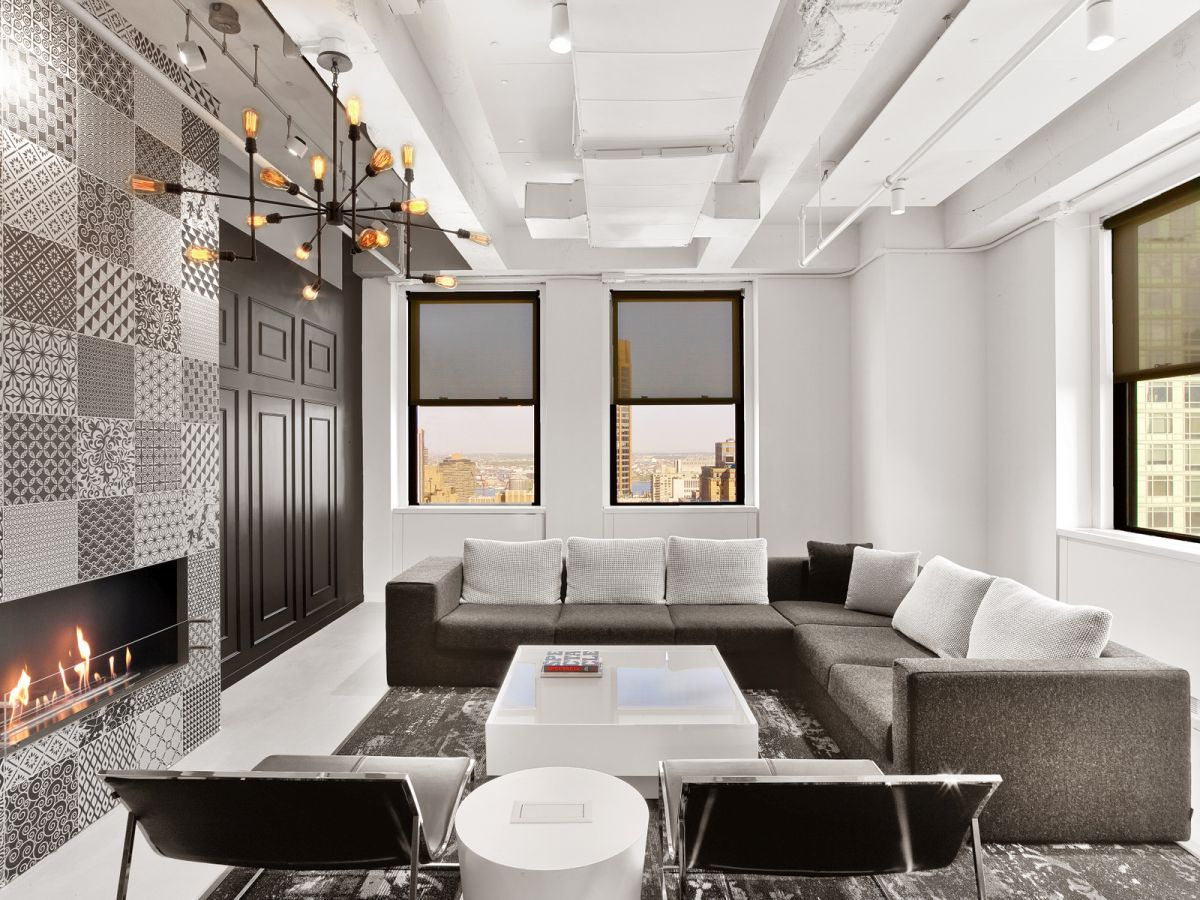 LinkedIn New York Office comfortable sectional and fireplace