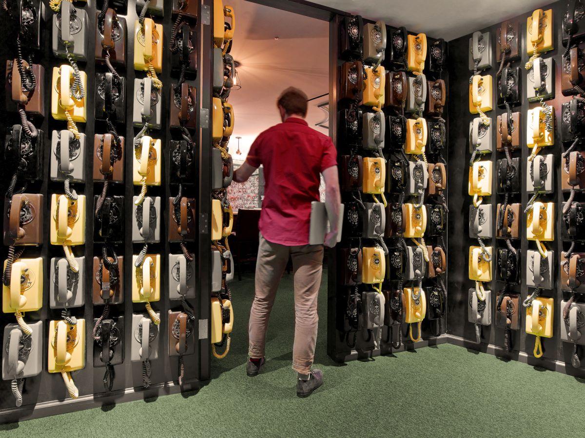 LinkedIn New York Office wall of vintage phones