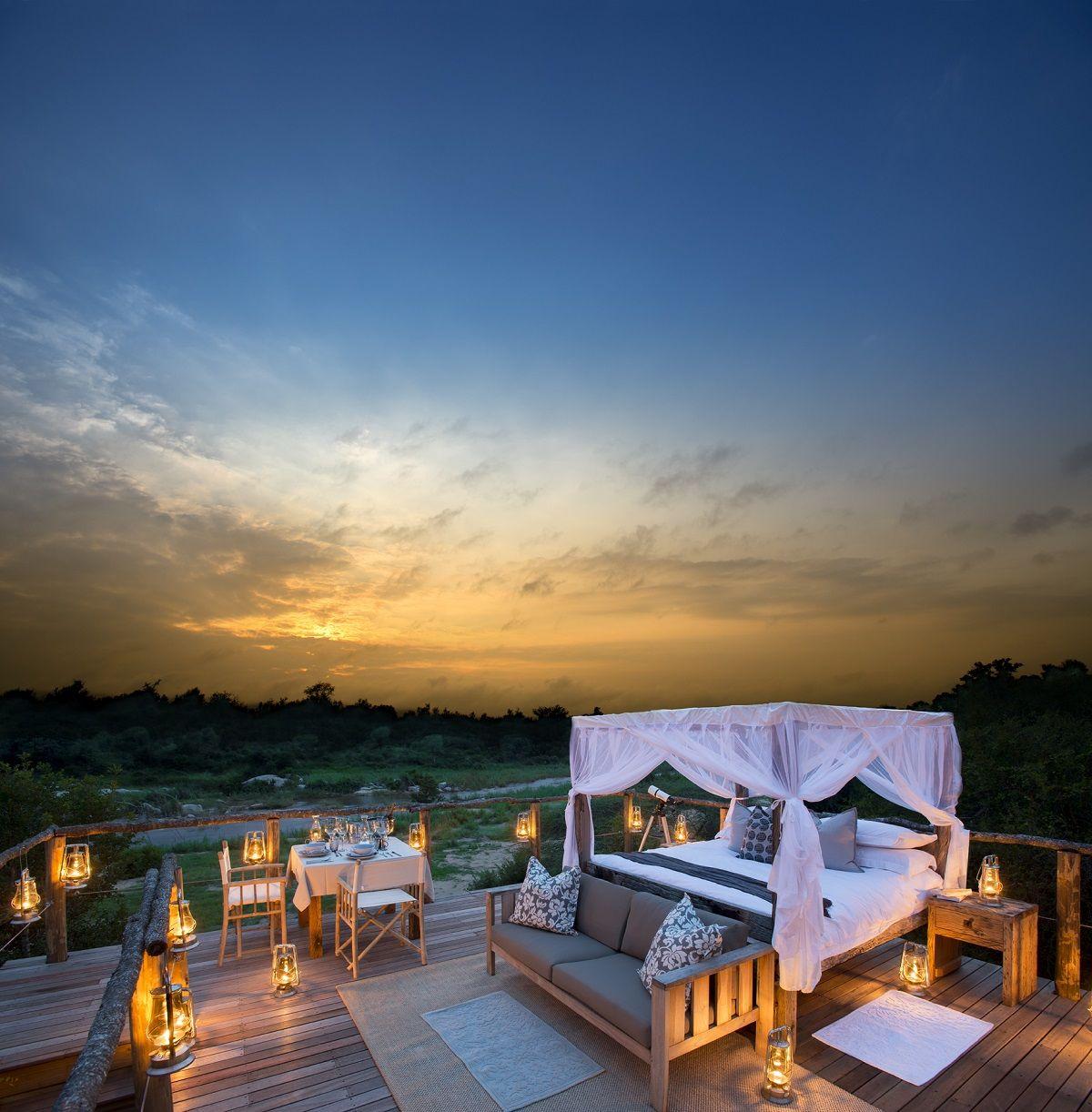 Lion Sands Game Reserve Baumhäuser im Freien Schlafzimmer