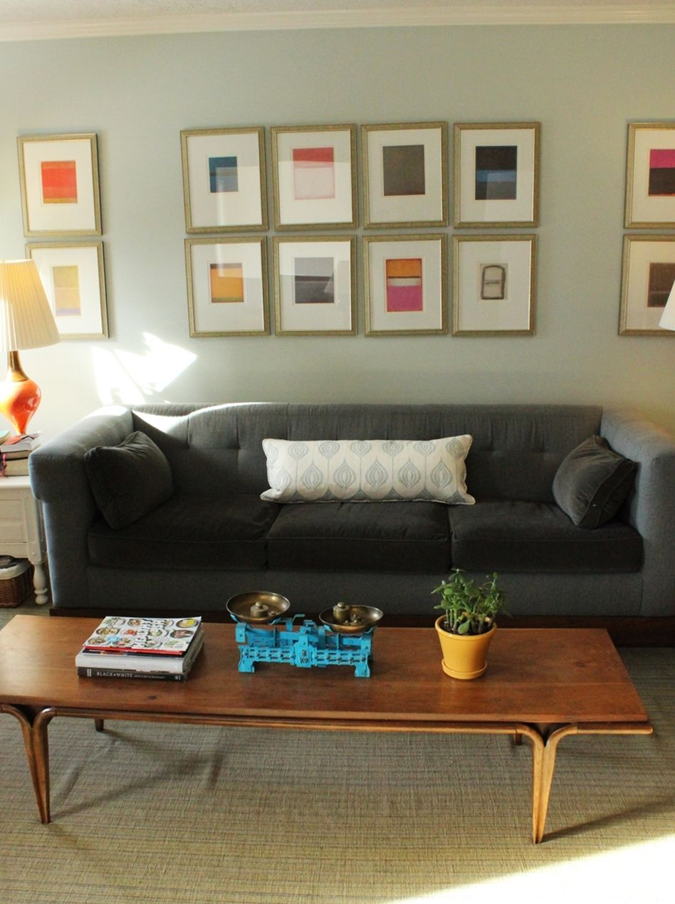 Living room with a mid-century coffee table