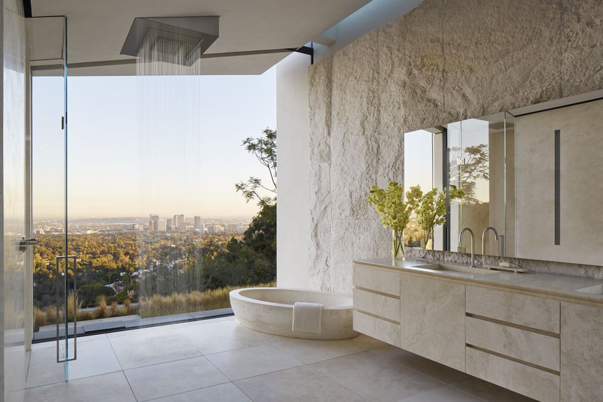 Michael Bay villa in Los Angeles bathroom view and textures