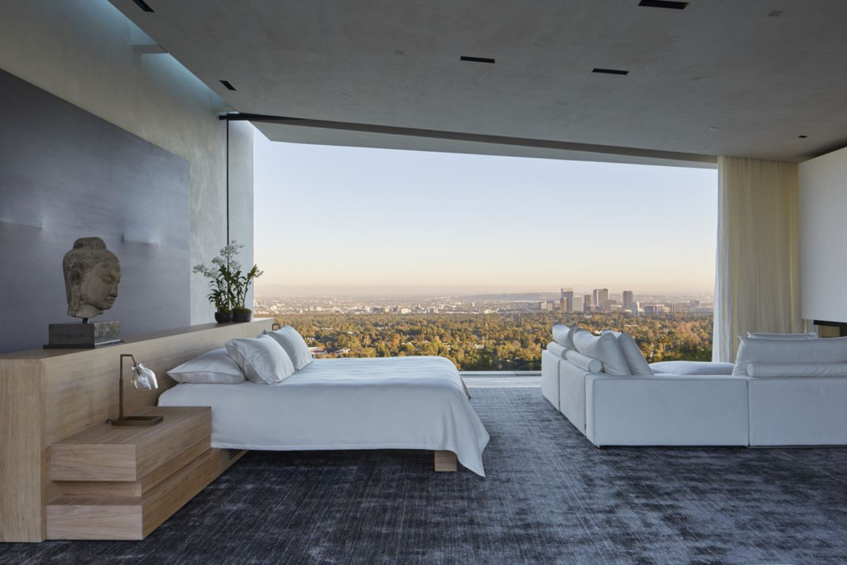 Michael Bay villa in Los Angeles bedroom panoramic view