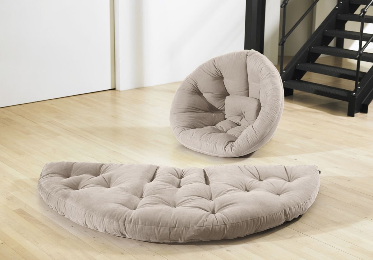 The Nest showing chair and circular futon shape