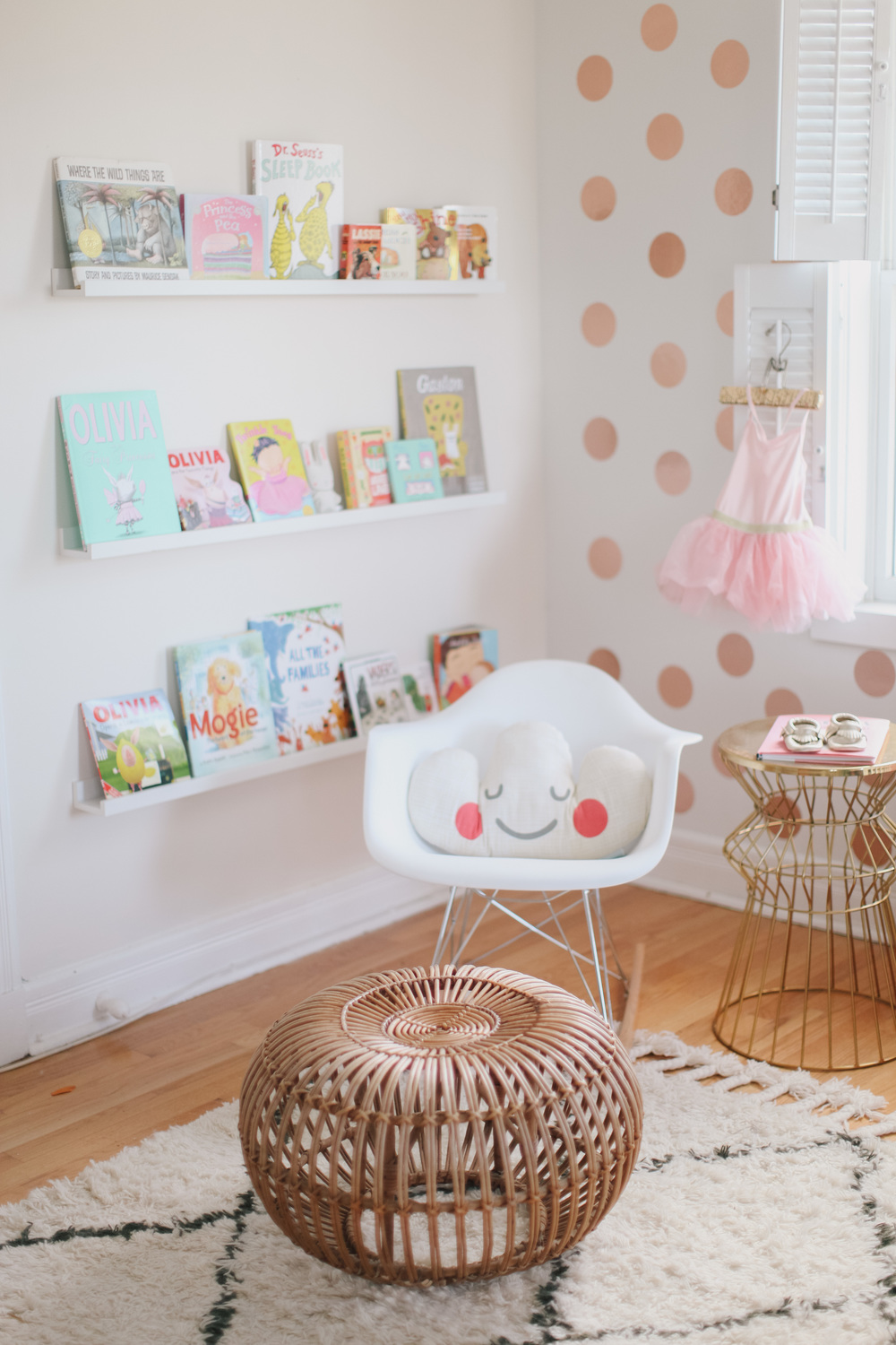 Nursery corner with polk dots