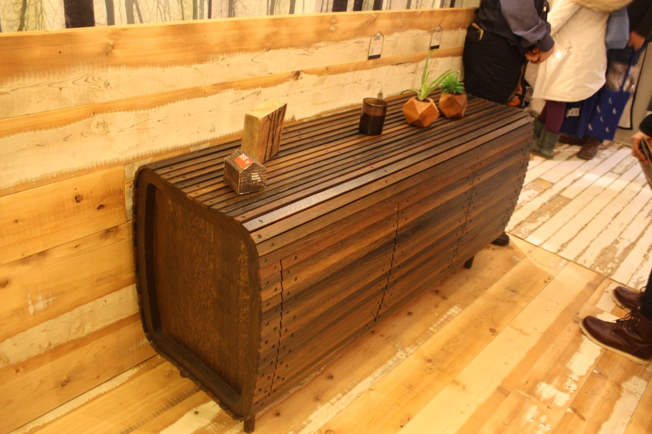 Variations in wood tone add to the many interesting design elements of this credenza that was part of the Ontario Wood presentation.