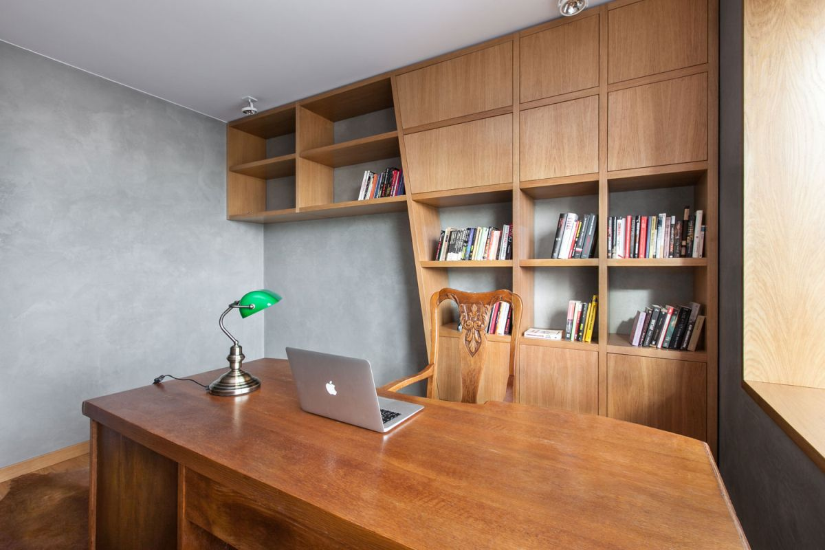 Open apartment by modelina home office wall unit