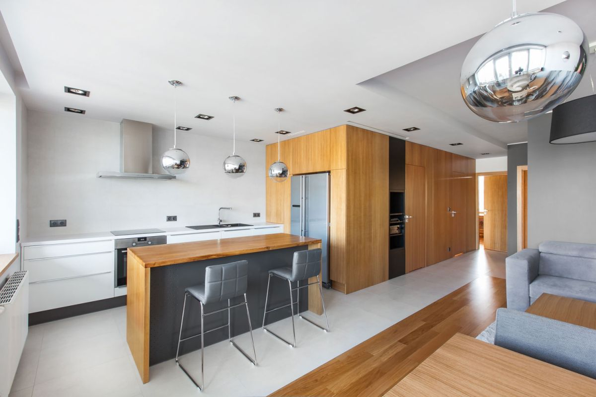 Open apartment by modelina kitchen island