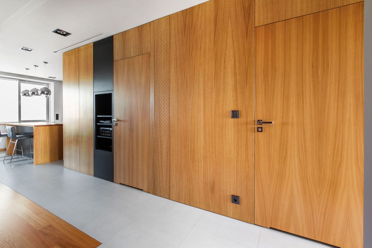Open apartment by modelina living room wood unit