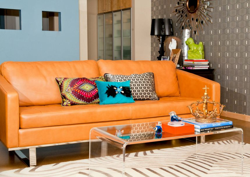 Living Room Ideas Orange Sofa fall into orange: living room accents for all styles