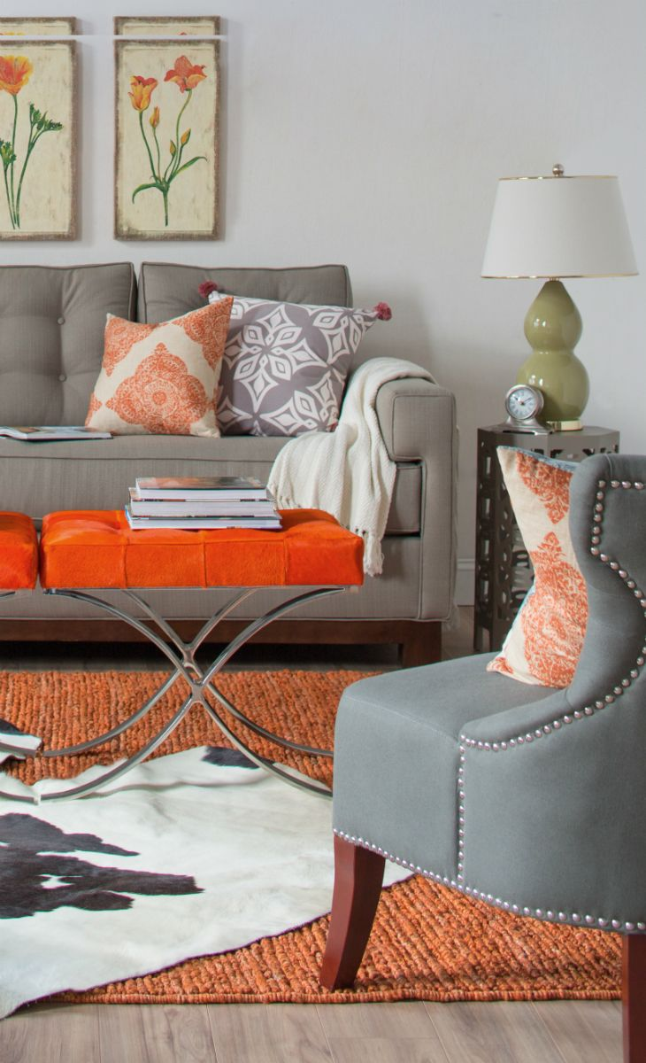 Orange stool or coffee table