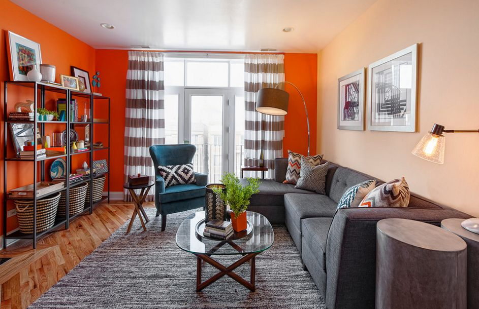 Orange walls for living room