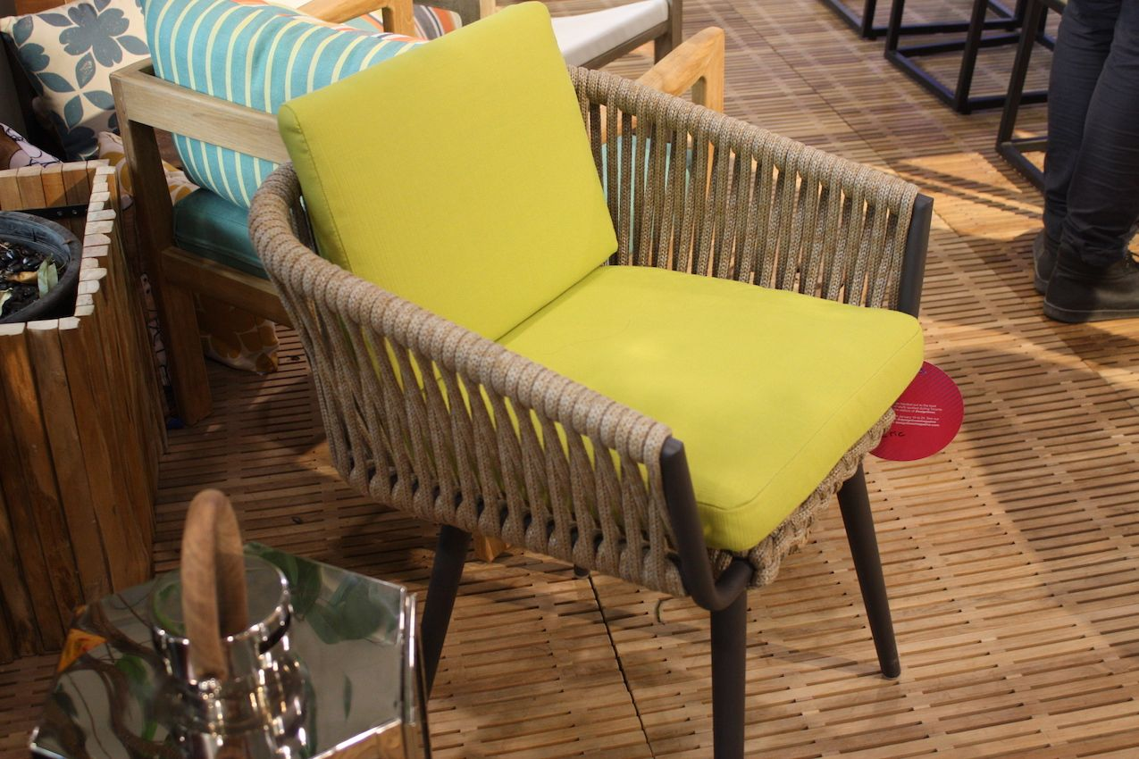 This interesting chair was part of the outdoor furnishing display by Andrew Richard Designs.