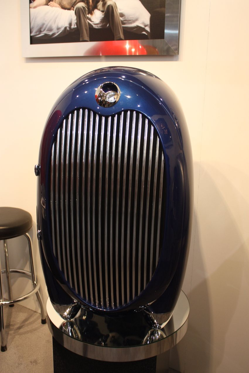 The outside of the Aeropod is highly polished chrome that's reminiscent of vintage airplane parts or a meticulously restored vintage automobile grille.