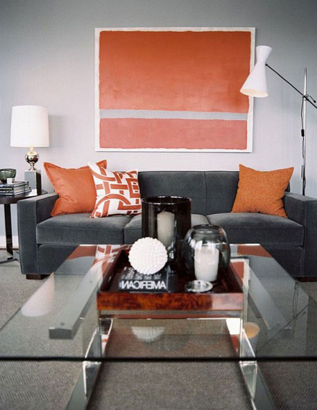 Grey And Orange Living Room fall into orange: living room accents for all styles