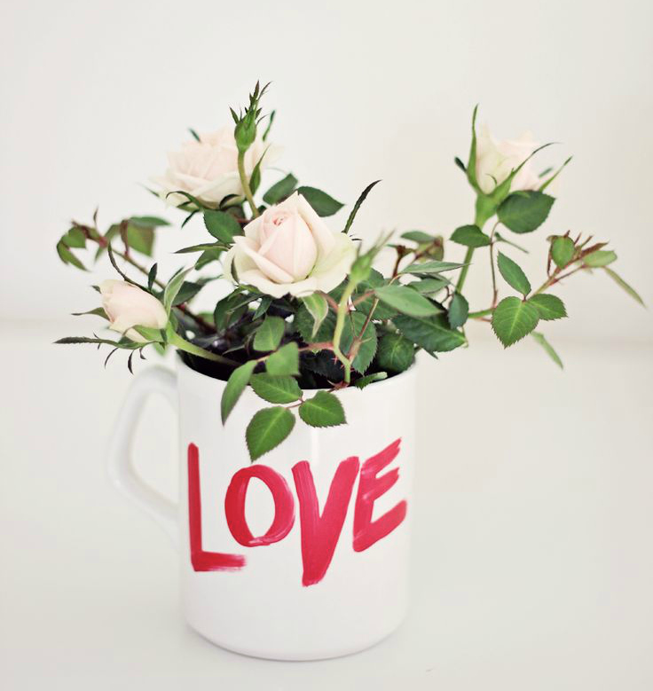 Painted love mug