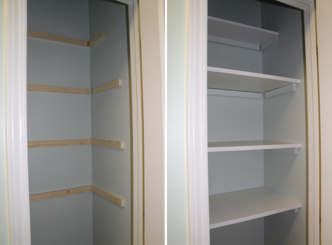 Superbe Painted White Wooden Shelves For Closet
