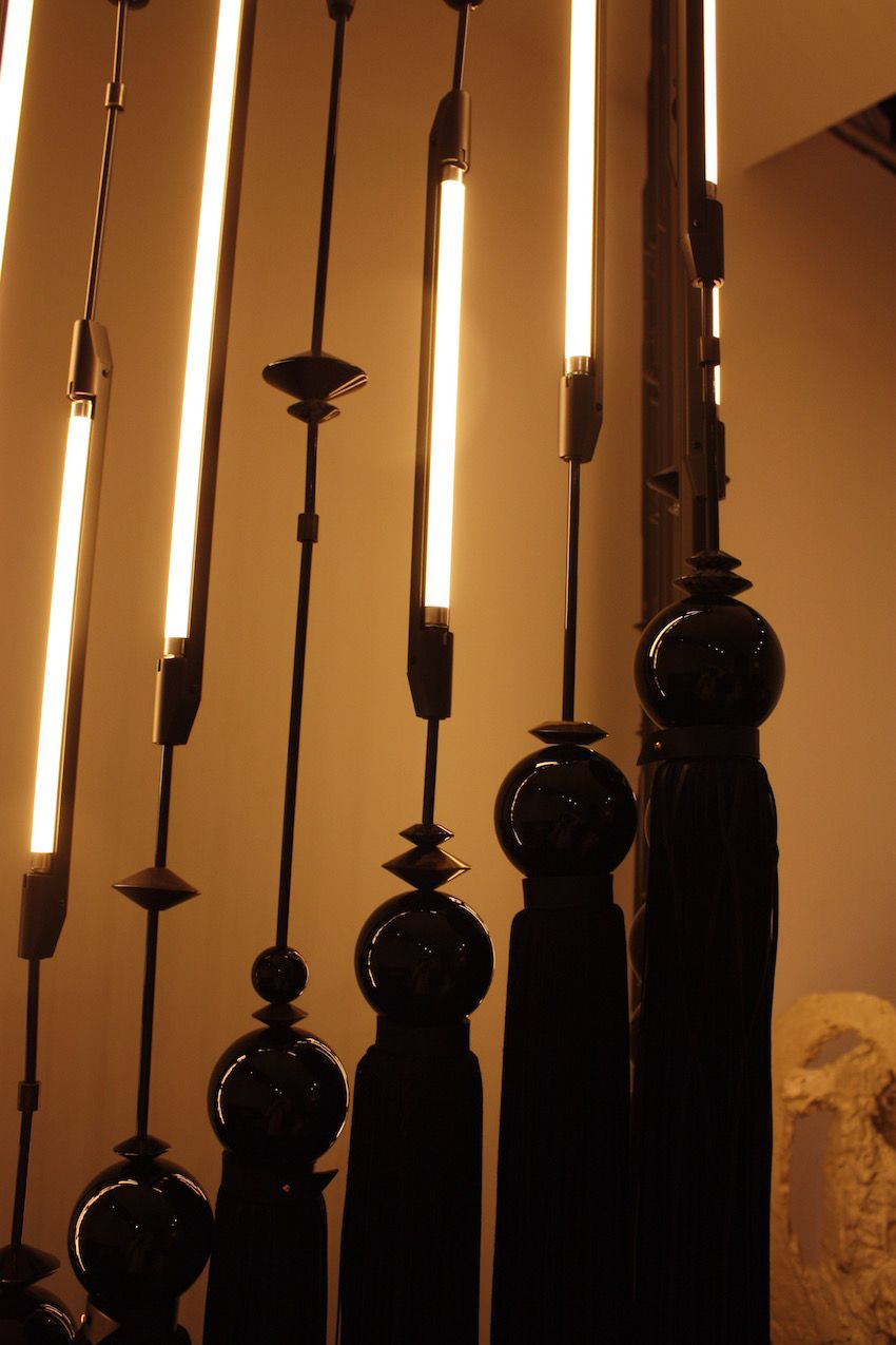 The combination of details makes for an artful and spectacular modern lighting fixture.