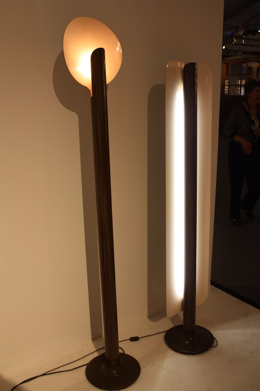 "Pierre Paulin's rare ""Elysée"" lamp (left) is made of brown lacquered metal and was created in 1972. The French designer's world are handled by Galerie Philippe Jousse in Paris."