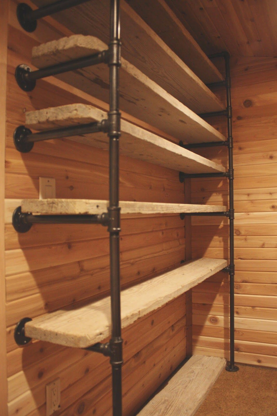Beau Pipes And Reclaimed Wood Turned Into Closet Shelves