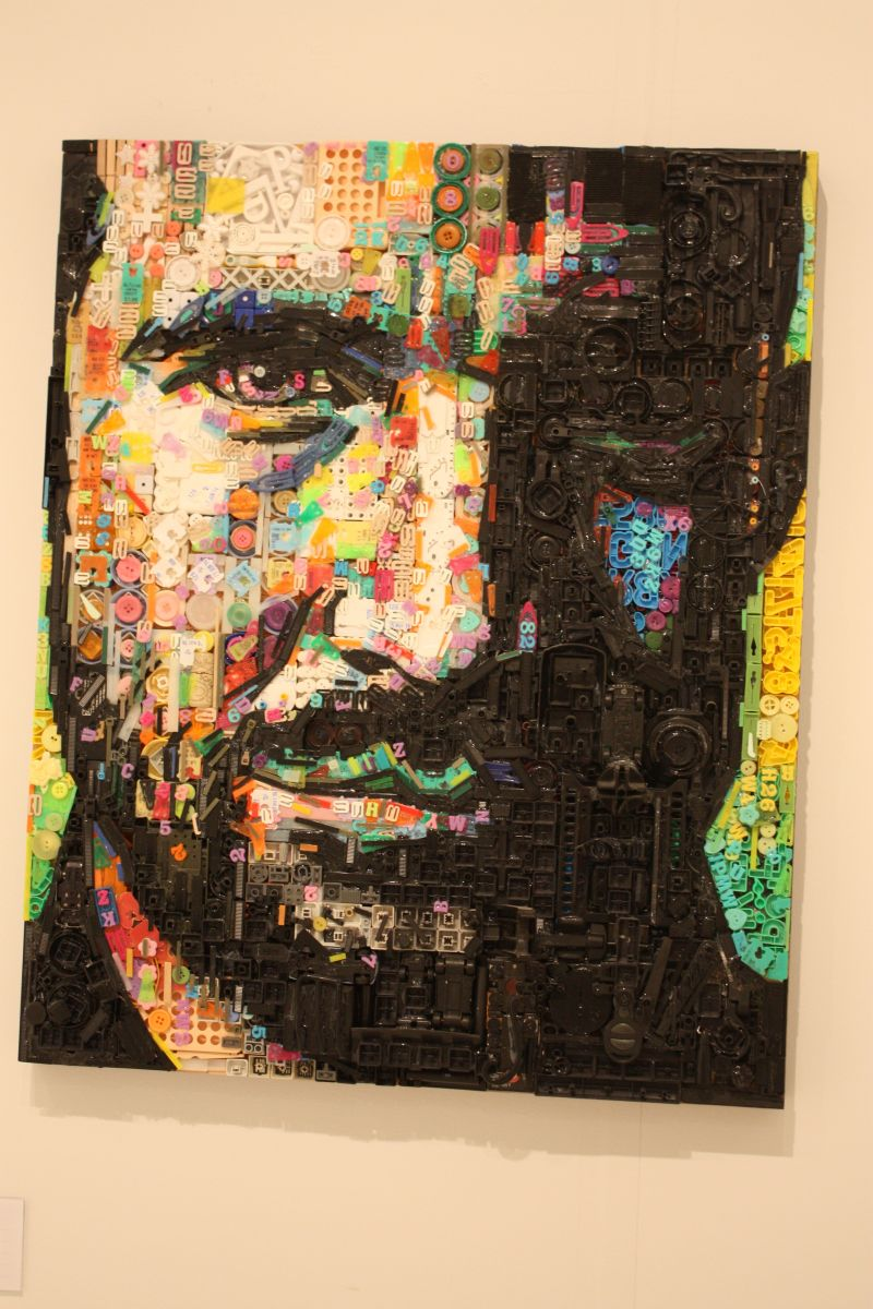 Large and dramatic, this plastic mosaic portrait was shown at Art Miami/Context Miami in December 2015.