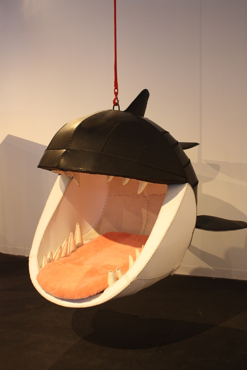 If you love hammocks, then perhaps Fiona Blackfish is for you. Created by Porky Hefer, the hanging chair is just plain awesome. She has a leather exterior ands a furry pink tongue-shaped seat. The teeth are made of leather too. Unusual? Yup. Awesome? Definitely.