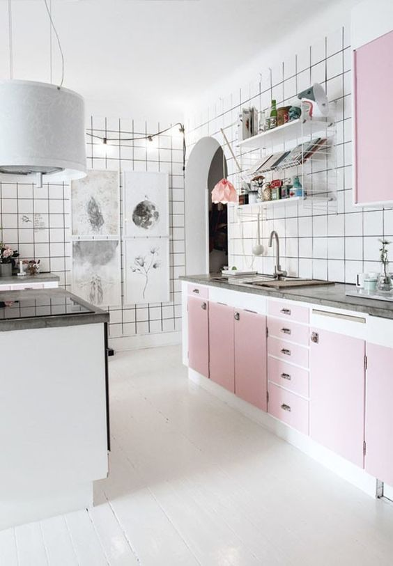Rose quartz cabinetry