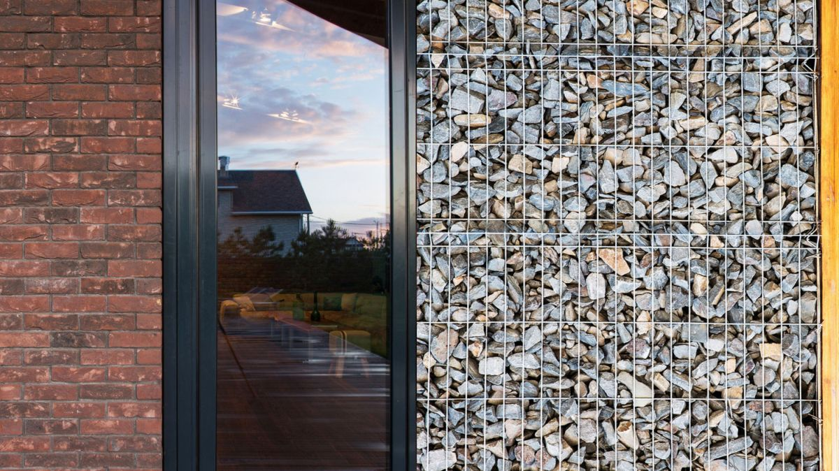 Rostov house by Chado gabion wall closeup for contrast