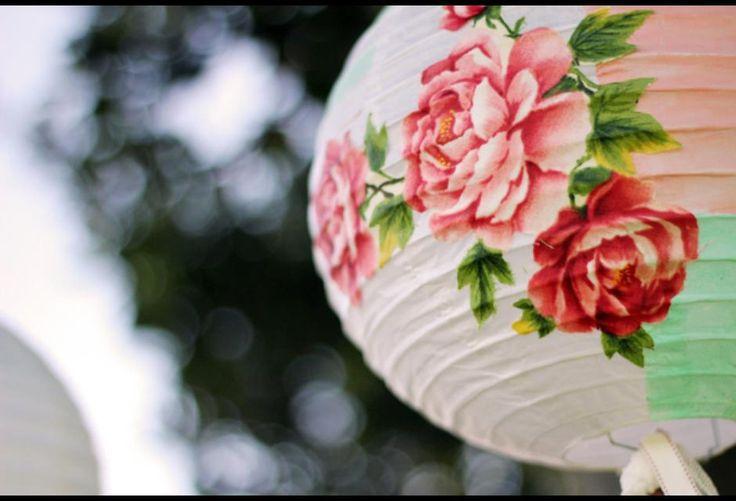 Rosy paper lanterns