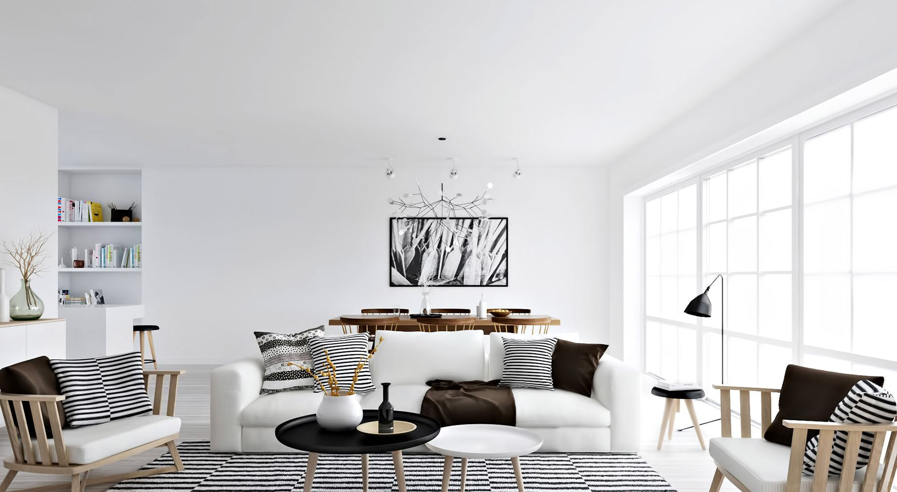 Scandinavian decor - in white and pops of black
