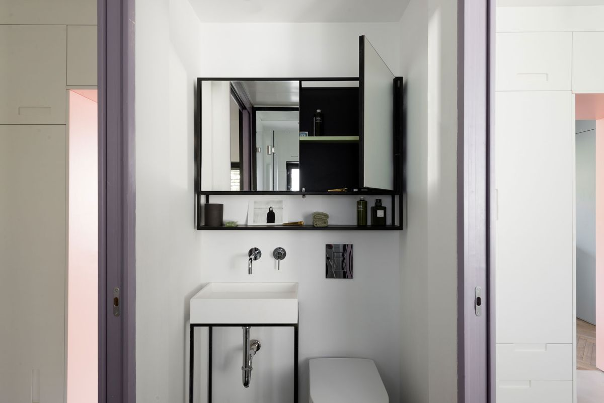 Small apartment remodel in Tel Aviv bathroom cabinet