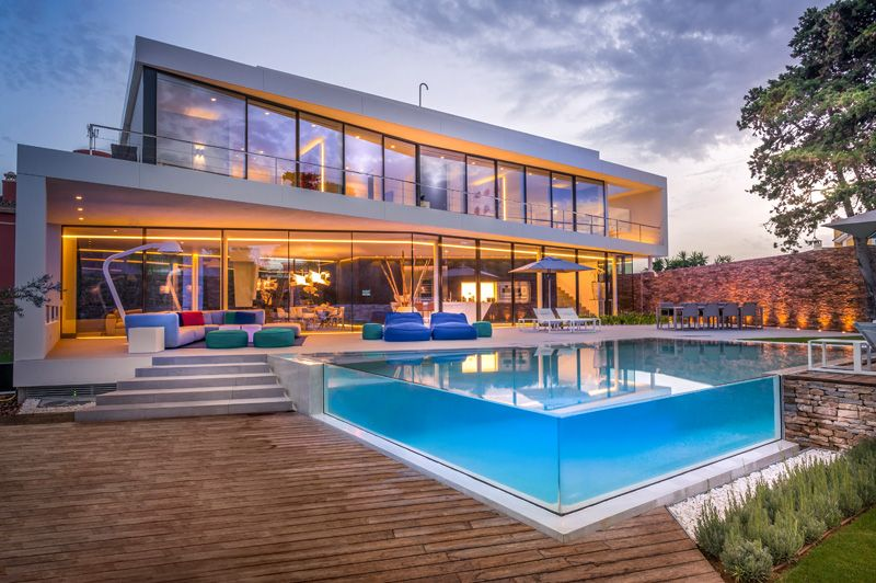 Spanish holiday home with glass swimming pool