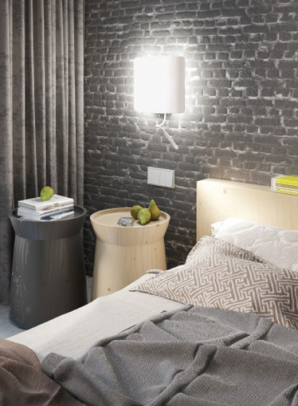 Square wall lamp for bedroom