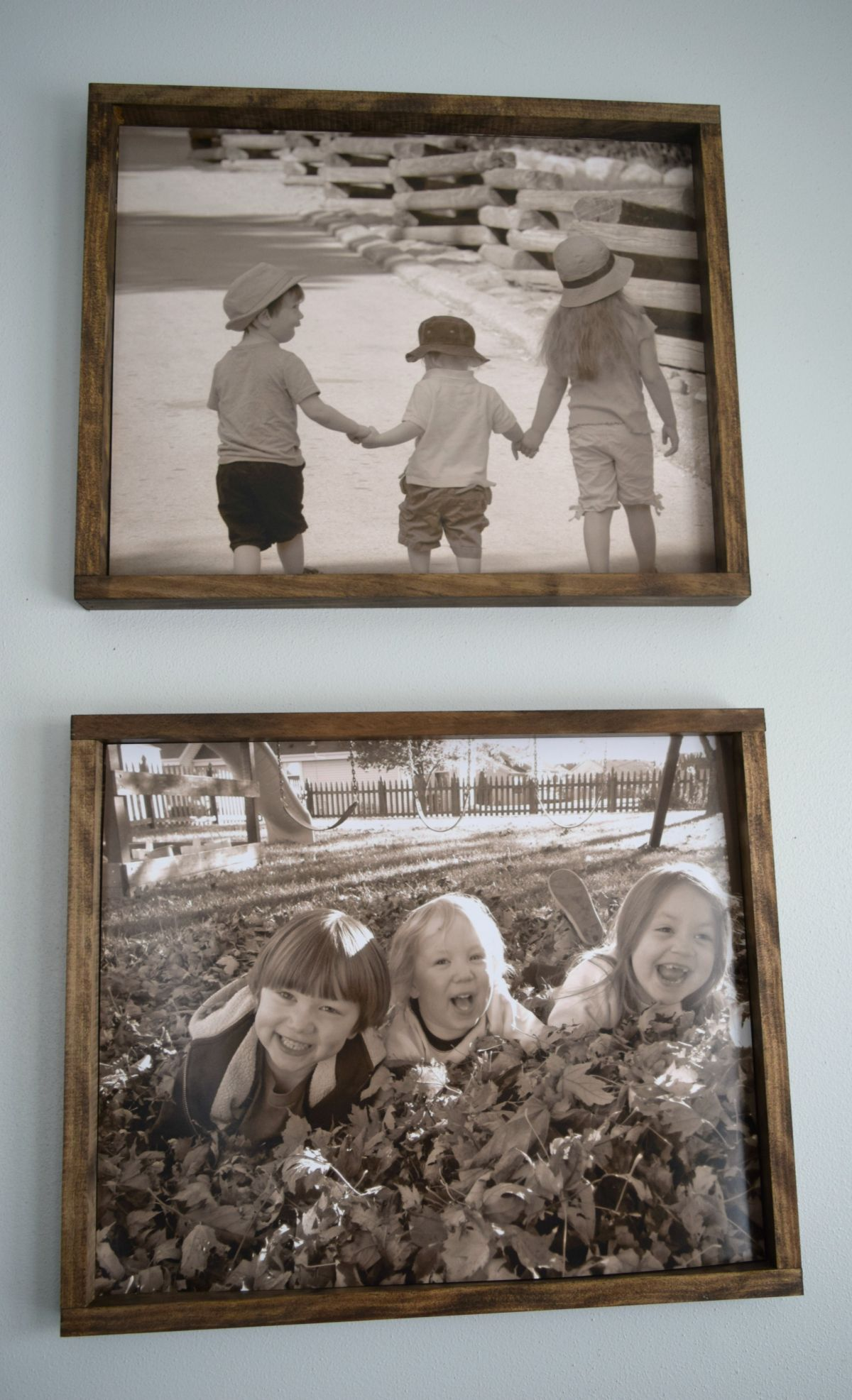 Stained wood picture frames
