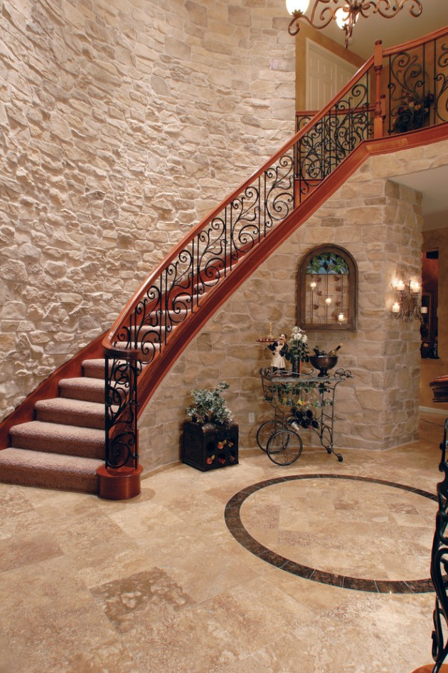 Stone walls and metalic stair railing