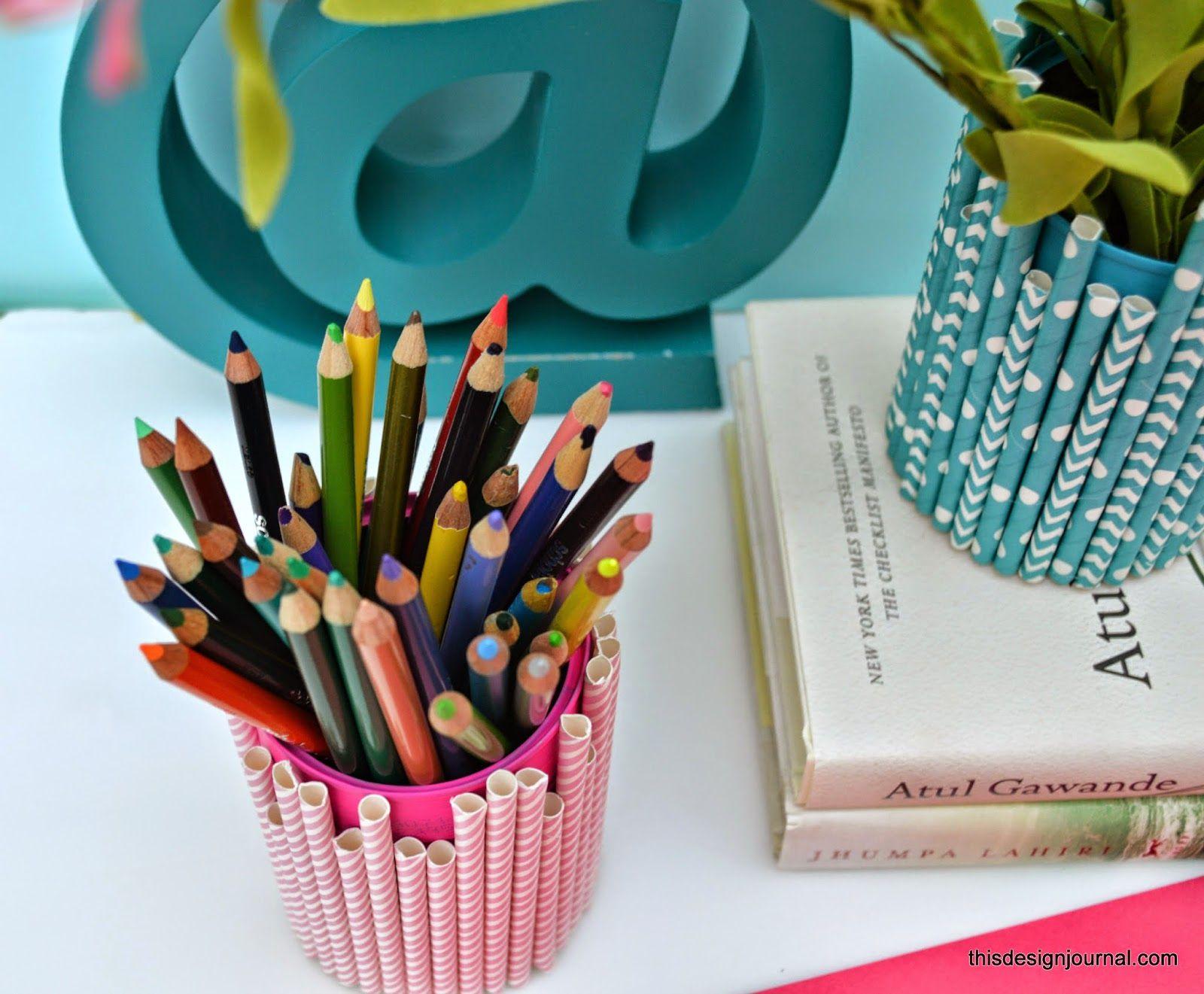 Straws pencil holder