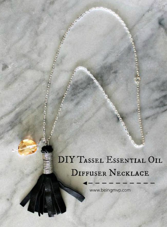 Tassel oil diffuser necklace