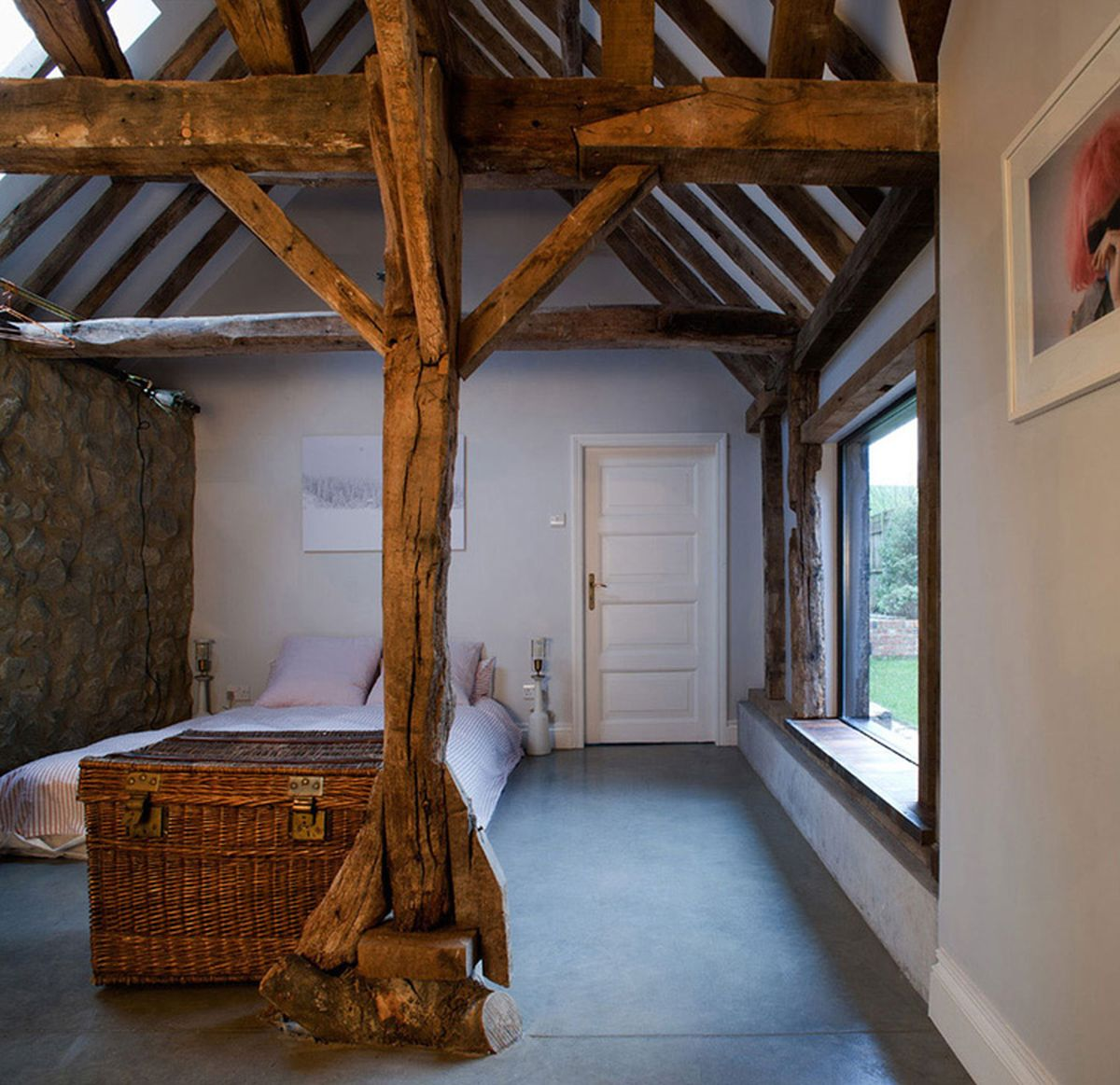 The Ancient Party Barn conversion bedroom wood frame