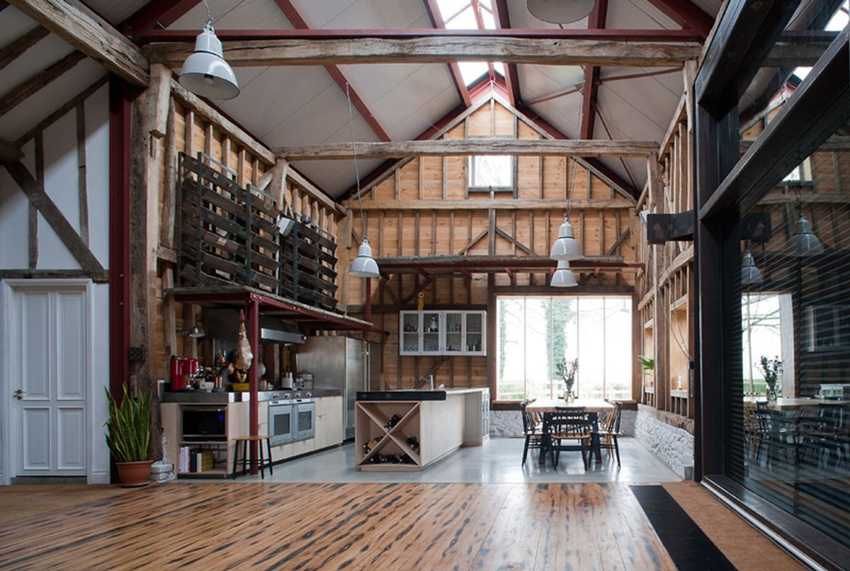 The Ancient Party Barn conversion interior design kitchen and dining