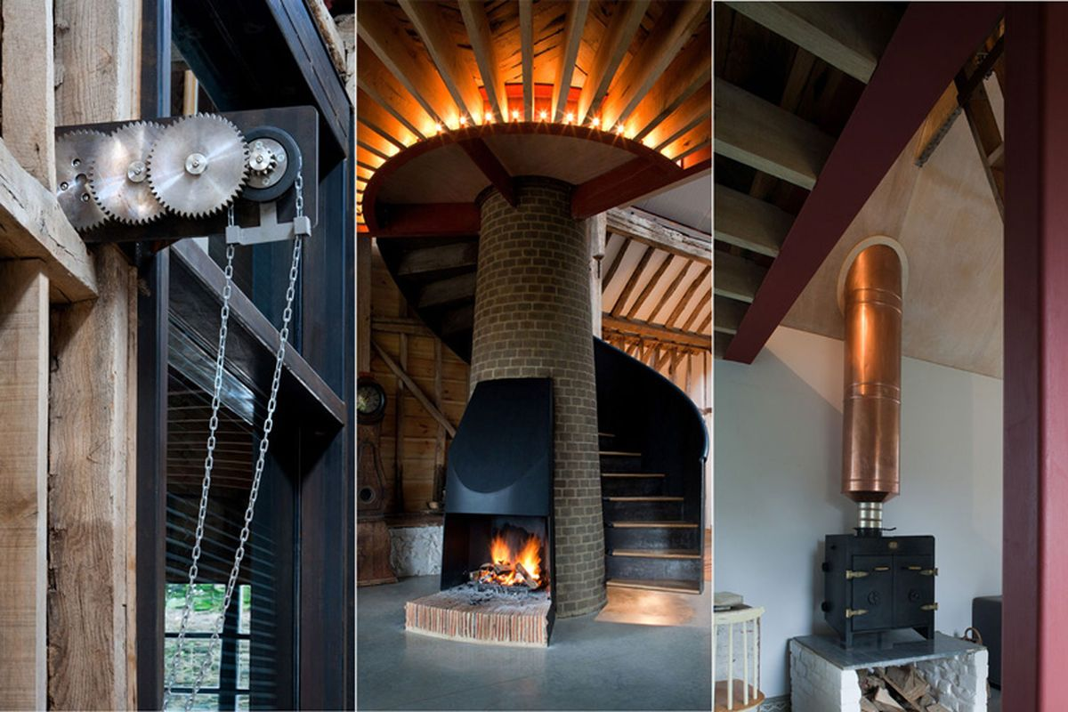 The Ancient Party Barn conversion open fireplace